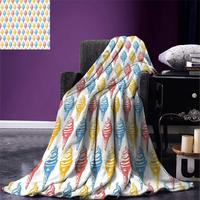 Food Throw Blanket Ice Cream Cones Fifties Time Colored Drawings with Abstract Retro like Design Image Warm Microfiber