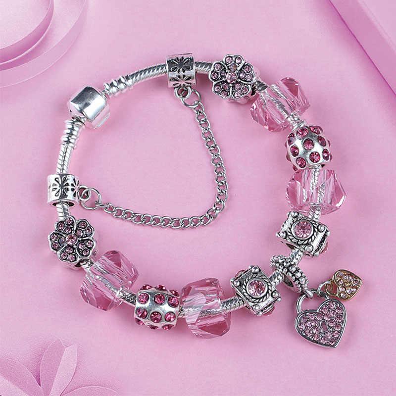 eb498aaf89cb9 2019 New Fashion Purple Crystal Pandora Bracelets Beads for Women Diy  Jewelry Making Pink Heart Flower Charm Bracelets & Bangles
