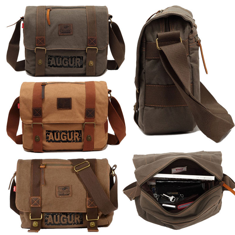 Men's Vintage Canvas Satchel Messenger Bag School  Shoulder Bag Travel Crossbody Bag Khaki Unisex casual canvas satchel men sling bag
