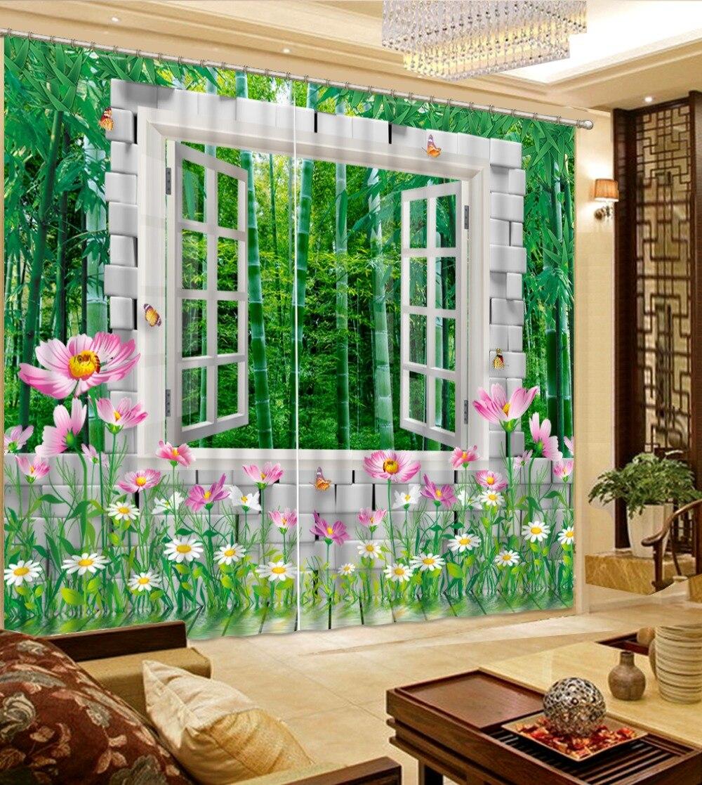 Toute fenêtre chambre décoration 3D rideau Photo bambou forêt paysage chambre salon enfants chambre rideaux