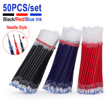 50PCS/Set 0.5mm Gel Pen Refill Needle Point tip Office Signature Rods For Handle Red Blue Black Ink Office School Writing Supply 0 5mm 30pcs lot gel pen refill needle tip and 3pcs gel pen suit office signature rods for handles office school supplies