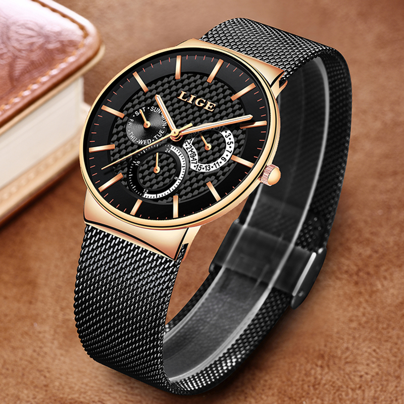 Image 2 - LIGE New Women Fashion Watch Creative Lady Casual Watches Stainless Steel Mesh Band Stylish Desgin Luxury Quartz Watch for WomenWomens Watches   -