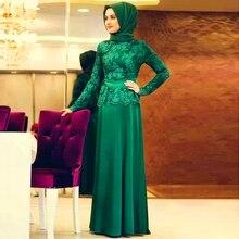 Heißer Verkauf Grün bodenlangen Abendkleid arabischen Spitze Satin Muslim Formale Gelegenheits-Kleid regelmäßige Long Sleeves A-Linie Vestido Longo