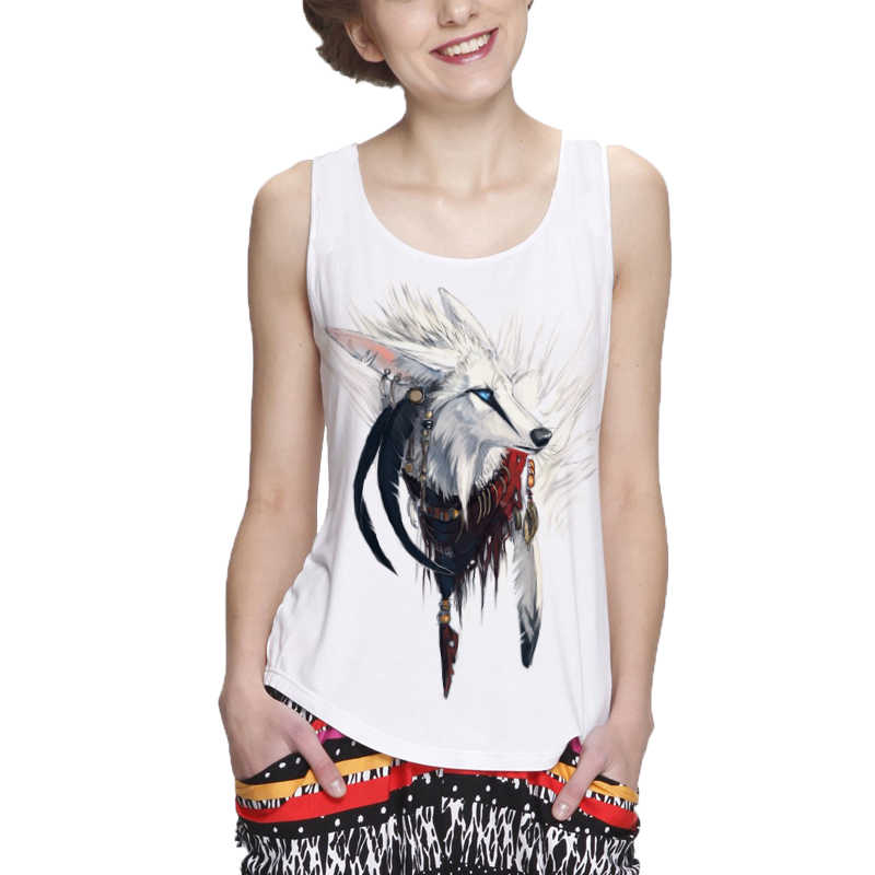 Showtly Mode koel wit zilver vos vrouwen tank tops casual super soft tops