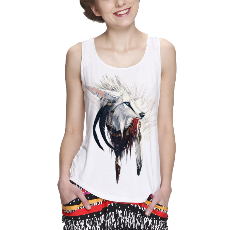 Showtly Fashion cool white silver fox women's   tank     tops   casual super soft   tops