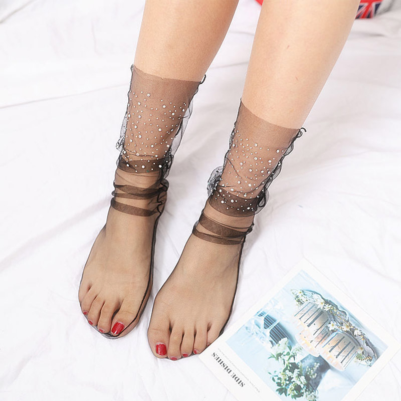 HTB19wC3TmrqK1RjSZK9q6xyypXa3 - Shiny Crystal Tulle Socks Transparent Sexy Uitra-thin Loose Socks For Women Summer Long Funny Socks Female Dress Hosiery Street