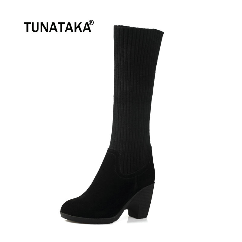 Female Suede Comfort Thick Heel Knee High Boots Fashion Round Toe Winter Stretch Sock Shoes Black xiuningyan women s boots round toe elastic ankle boots thick heel high heel shoe woman female fashion stretch socks boots winter