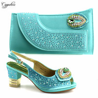 Charming party shoes and purse sets series high heel sandal shoes matching with handbag 5683 2 water green