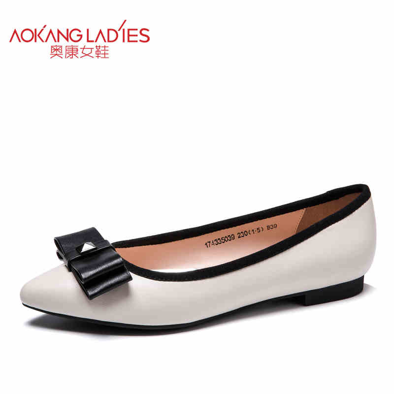 Aokang 2017 New arrival women flat genuine leather shoes red black white women shoes breathable and