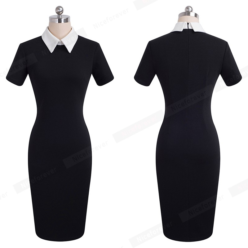 Nice-forever Career Women Autumn Turn-down Collar Fit Work Dress Vintage Elegant Business office Pencil bodycon Midi Dress 751 12