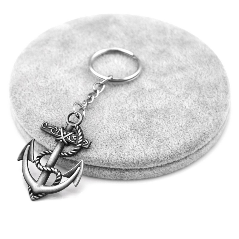 Vintage Silver Anchor Man Keychain Trinket Retro Skull Anchor Key Chain Rudder Key Ring Jewelry Souvenirs Gift Men Llaveros retro skull anchor pendant necklace for men