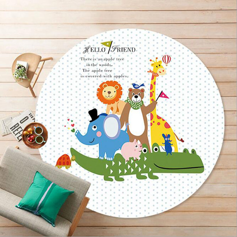 Thick Round 60/80CM Cartoon Door Pad Animal Family Toy Mat Kids Room Carpets Living Room Baby Crawling Game Rugs Christmas Gift
