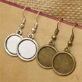40pcs/lot 14mm Antique Bronze Alloy Round Dangle Earrings Hooks Cabochon Base Setting DIY Jewelry Findings Making Fittings T575