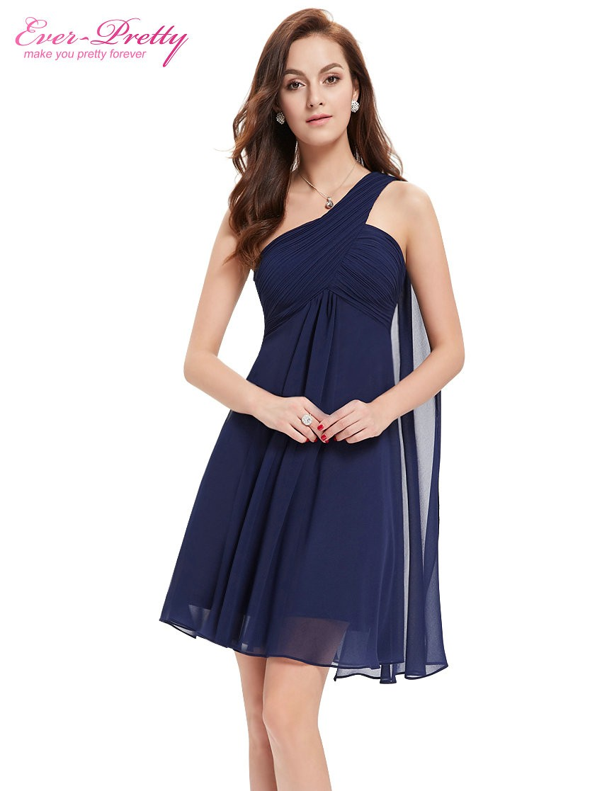 [Clearance Sale] Cocktail Dresses Ever Pretty HE03537 One Shoulder Ruffles Padded Chiffon Short Vestido 2018 Cocktail Dresses