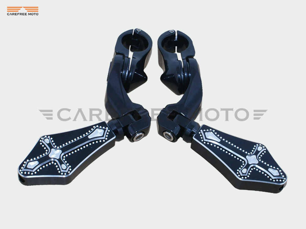 Black 1.25'' 32mm Cross Motorcycle Highway Foot Pegs Footrest Case for Harley Sportster 883 1200 V-Rod Night Train Softail все цены