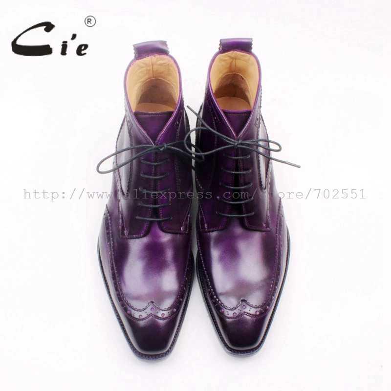 Cie с квадратным носком wingtip lace-up до середины икры кожаные ботинки на заказ ручной работы натуральная кожа фиолетовый мужские ботинки Goodyear welted A157