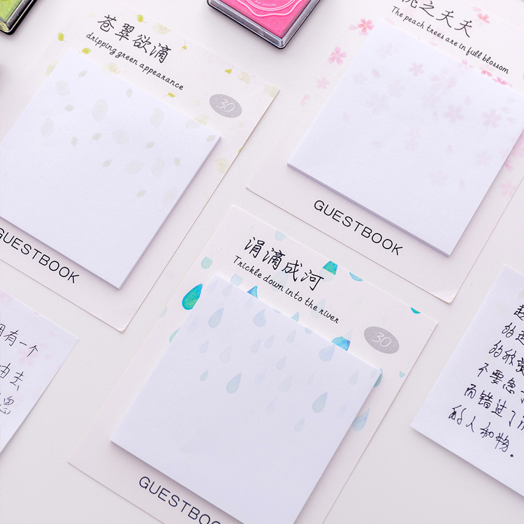 Little Green Peach Flowers Strawberry Memo Pad N Times Sticky Notes Escolar Papelaria School Supply Bookmark Label
