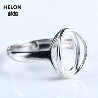 Sterling Silver 925 Supporto Semi Di Fidanzamento Wedding Ring 8x12mm Ovale Cabochon Trendy Gioielli Ambra Agata Turchese impostazione