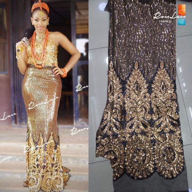 Gold Sequins Style African French Mesh Tulle Lace Sequined Indian Wedding  Dress Fabrics 2017 High Quality 14273d6a27f0
