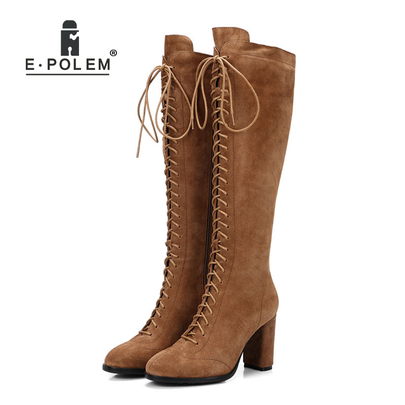 Trendy Female Long Boots Punk Lace-Up Knee-High Boots for Women Genuine Leather Pointed Toe Motorcycle Boots Zipper  BootsTrendy Female Long Boots Punk Lace-Up Knee-High Boots for Women Genuine Leather Pointed Toe Motorcycle Boots Zipper  Boots