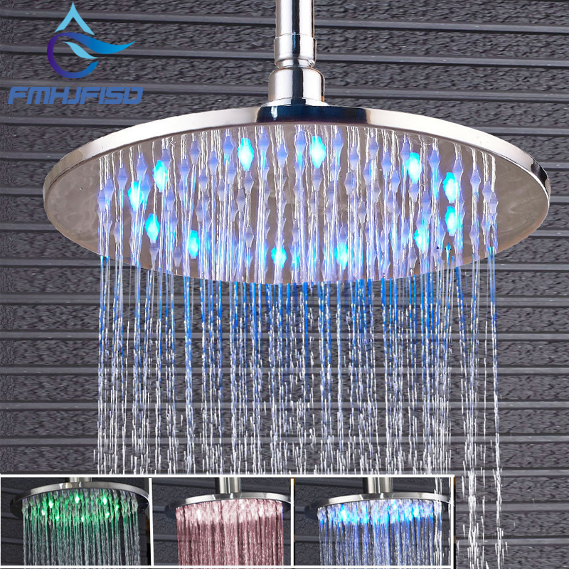 Polished Chrome LED Round Rain Shower Head Wall Ceiling Mounted Shower Head poiqihy chrome rain