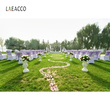 Laeacco Outdoor Wedding Party Flower Passage Grassland Backdrop Custom Photography Background Bridal For Photo Studio