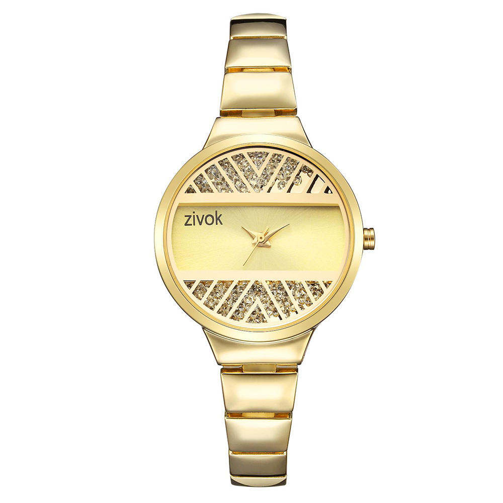 ZIVOK Watch Women Quartz Wrist Watch Stainless Steel Gold Dimensional Carving Flower Dial Watches