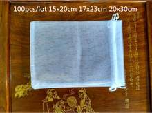 100pcs/lot 15x20 17x23 20x30cm big Size Organza Bags drawstring Pouch Wedding decoration gift bag jewelry Packaging Storage bag(China)