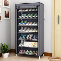 7 Tier Shoe Shelves Canvas Shoe Stool Storage Wardrobe Rack Rail Shoe Organizer Zipper Permanent Sapateira Organ 3colors Cabinet