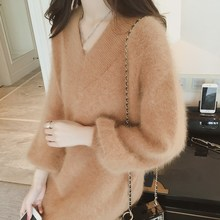 9403757339 Autumn Winter Women Mohair Sweater Dress 2018 Loose Cashmere Long Sleeve  Pullover Korean V Neck Knitted