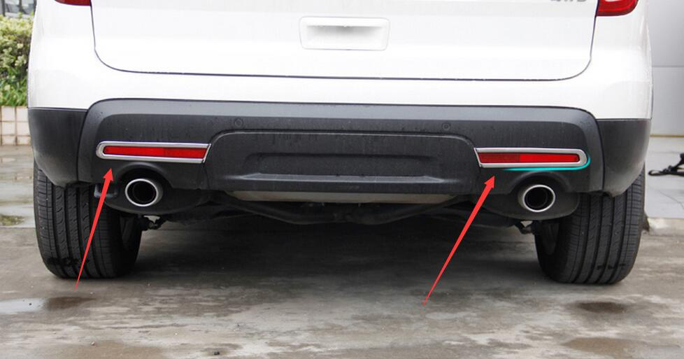 Chrome rear fog light foglamps frame cover trim 2pcs for - 2013 ford explorer interior parts ...