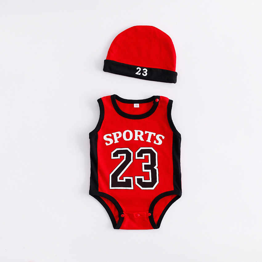 31758c273 ... Newborn Baby Number 23 Basketball Clothes Kids Jumpsuits Boy Cotton  Sport Rompers with Hat Summer Sleeveless ...