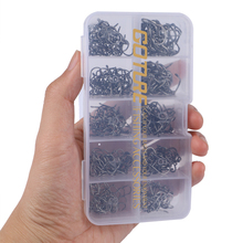 Goture 500pcs/box High Carbon Steel Fishing Hook Size #3-#12 Fishhooks Pack Carp Fishing Tackle