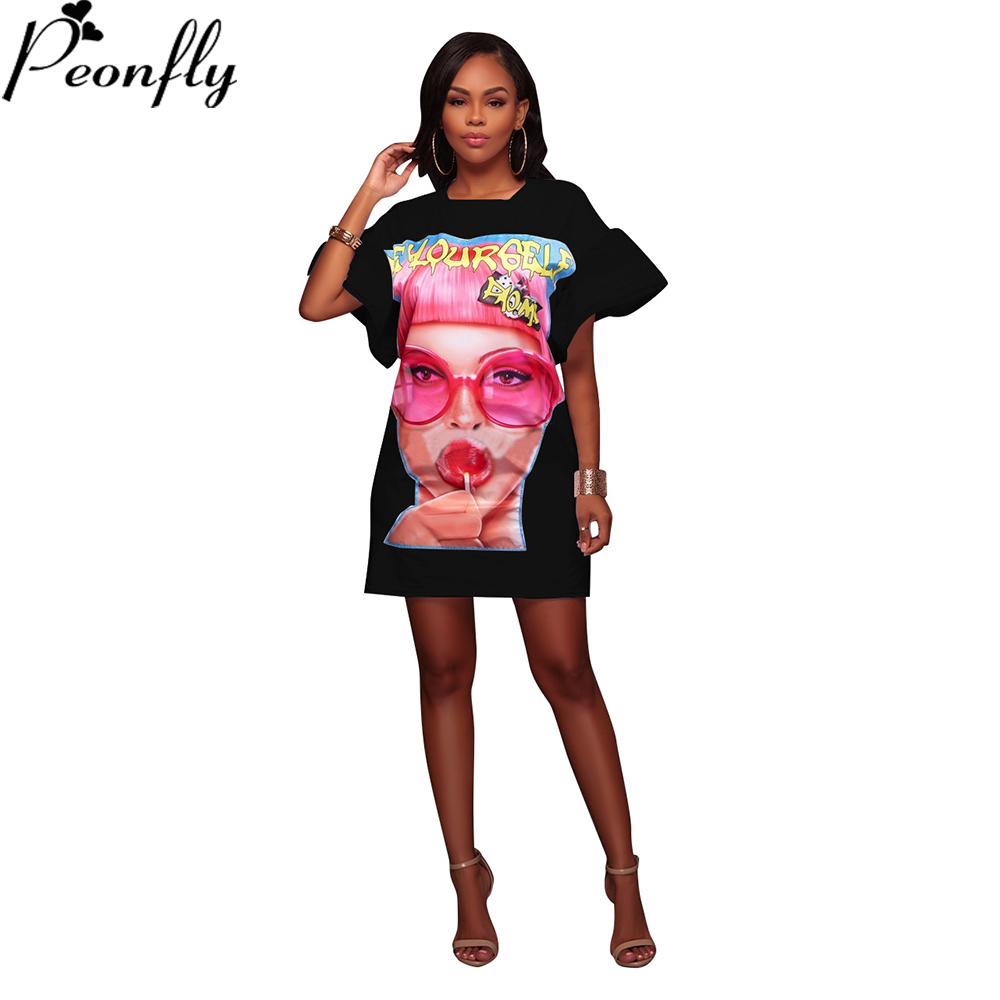 PEONFLY Cartoon Cotton Women Dress Vestidos Preppy Style Casual Simple Loose Slim Dresses Frocks Summer Fashion