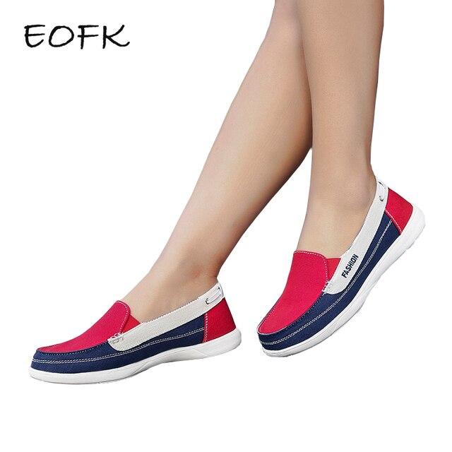 EOFK Kadın kanvas ayakkabılar Kadın Bayanlar rahat ayakkabılar Bayan mokasen kadın Flats bağcıksız ayakkabı tenis feminino zapatos de mujer