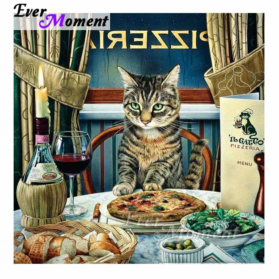 Ever Moment Diamond Painting Cat Dinner Full Square Drill Decor For Home Diamond Embroidery Picture Mosaic Rhinestone S2F312Ever Moment Diamond Painting Cat Dinner Full Square Drill Decor For Home Diamond Embroidery Picture Mosaic Rhinestone S2F312