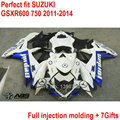 Fairing kit for Suzuki GSXR600 GSXR750 11 12 13 14 white black injection fairings GSXR 600 750 2011 2012 2013 2014 body parts