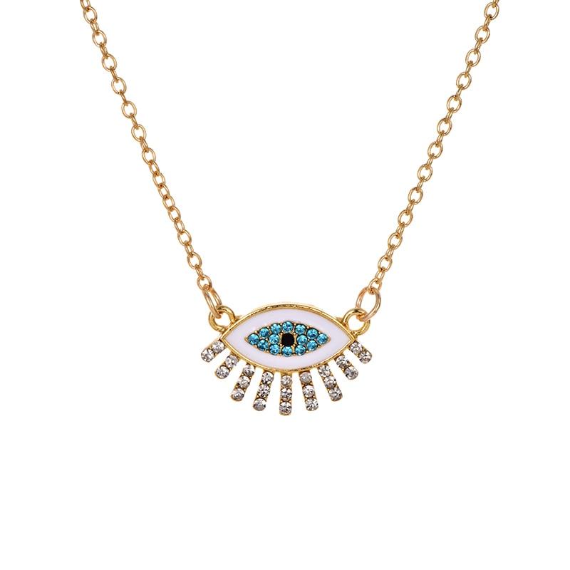 Модное ожерелье с подвеской для глаз для женщин, ожерелье с кристаллами, сексуальные персонализированные чокеры, короткая цепочка на ключицы, ювелирные изделия - Окраска металла: eye