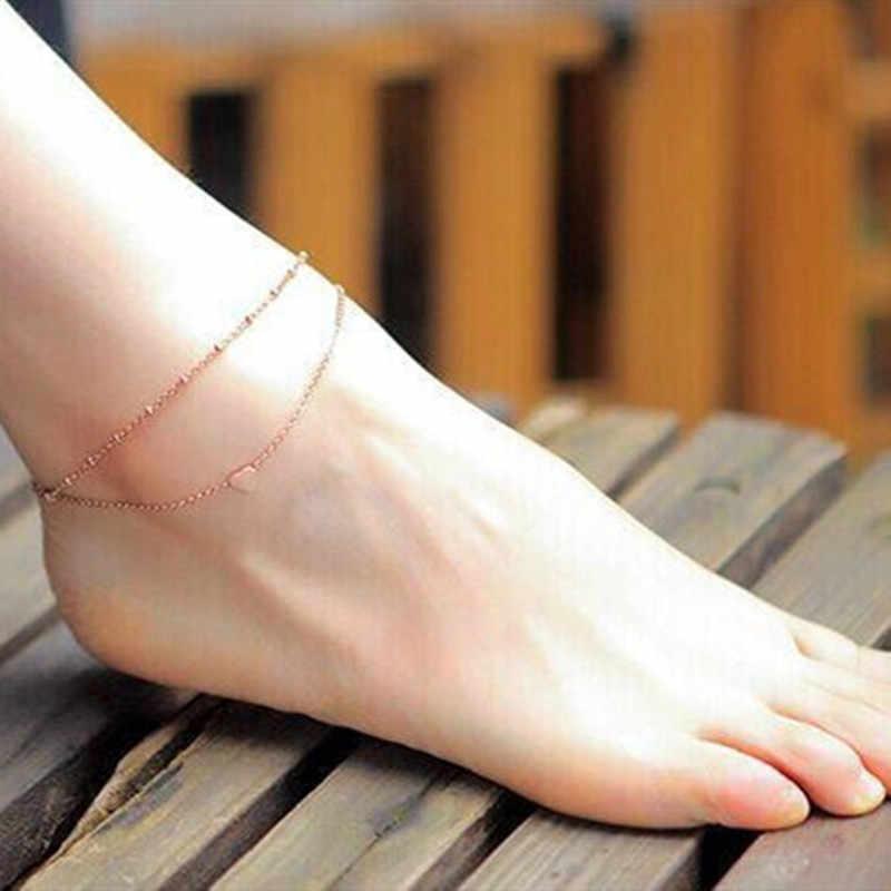 חלאל enkelbandje פשוט לב Anklets יחף סנדלים סרוגה רגל תכשיטי רגל חדש Anklets על רגל קרסול לנשים cavigliera