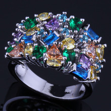 Graceful Multigem Multicolor Brown Cubic Zirconia 925 Sterling Silver Ring For Women V0583
