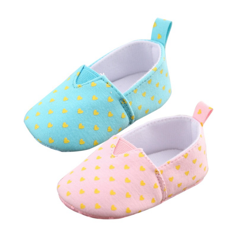 Newborn Baby Boys Girl Cute Heart Printed Anti-Slip Shoes Sneakers Toddler Soft Soled First Walkers 0-18M