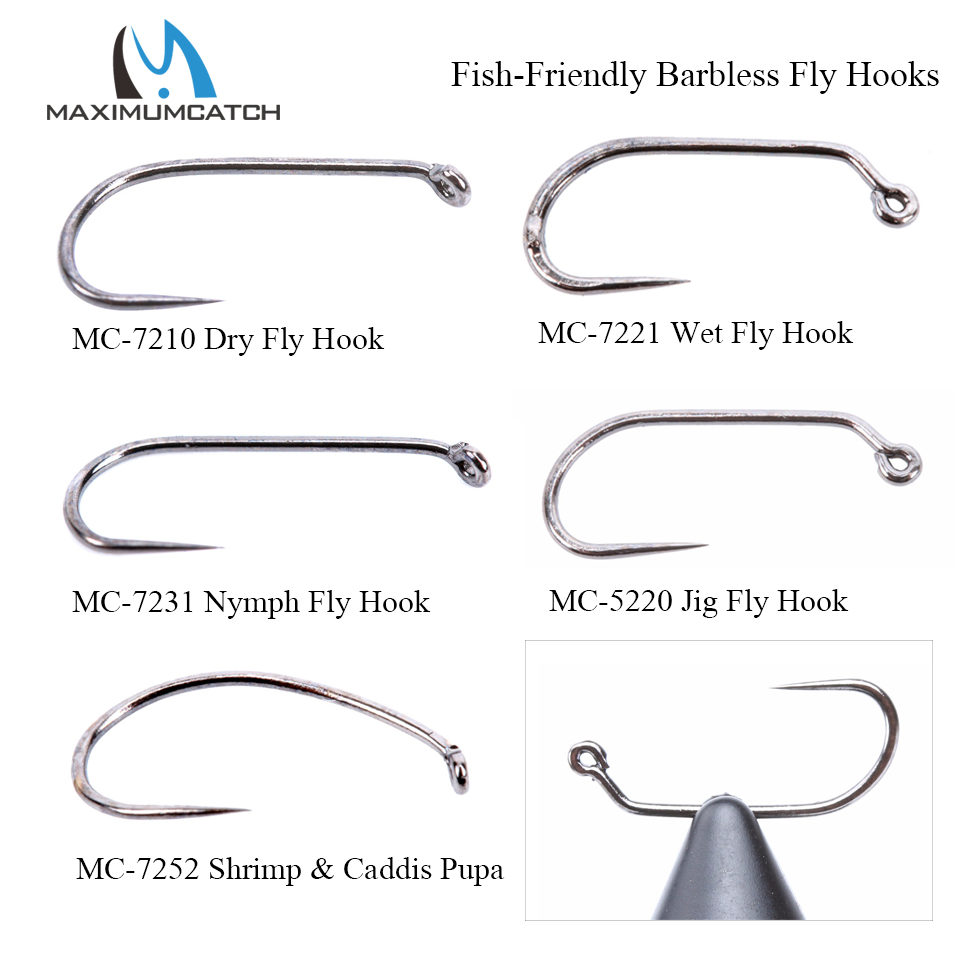 Maximumcatch 100pcs 10#12#14#16#18# Fish-Friendly Barbless Fly Tying Hooks Dry&Wet&Nymph&Shrimp Caddis Pupa Jig Fishing Hooks