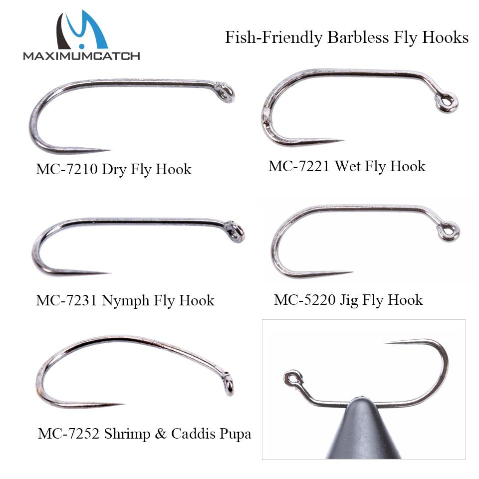 Maximumcatch 100pcs 10#12#14#16#18# Fish-Friendly Barbless Fly Tying Hooks Dry&Wet&Nymph&Shrimp Caddis Pupa Jig Fishing Hooks