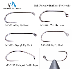 Maximumcatch 100pcs 10#12#14#16#18# Fish-Friendly Barbless Fly Tying Hooks Dry&Wet&Nymph&Shrimp Caddis Pupa Jig Fishing Hooks(China)