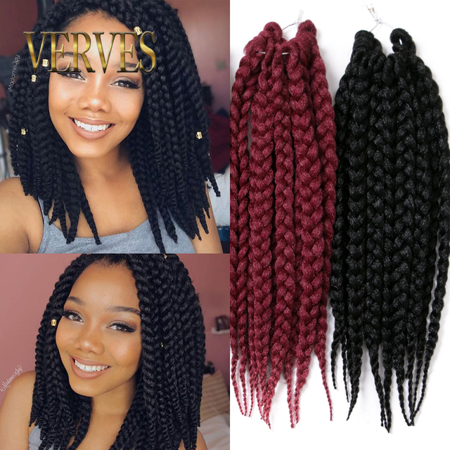 Box Braids Hair Crochet 14inch Crochet Hair Extensions Yaki Synthetic ...