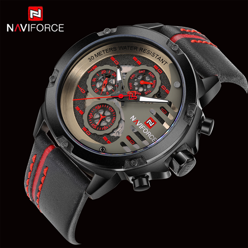 <font><b>NAVIFORCE</b></font> Luxury Brand Men's Sport Watches Leather Quartz Watch Waterproof Date Clock Military Wrist Watch relogio masculino image