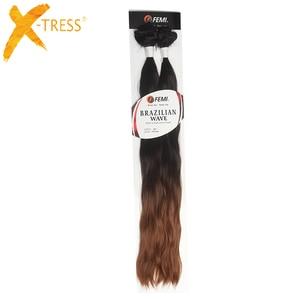 Image 2 - Tissages synthétiques doux ondulés X TRESS naturels, mèches noires et brunes ombré, lot de 6 Extensions capillaires à coudre, 14 à 20 pouces pour tête complète