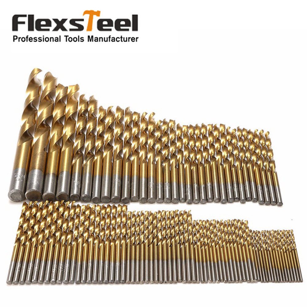 Flexsteel Titanium Coated Manual Twist Drill Set HSS High Speed Steel Drill Bit Set Tool for Metal Woodworking Brocas flexsteel 13pcs hss titanium twist drill bits set to metal 8pcs carbon steel manual black twist wood drill bit set