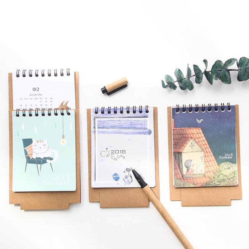 Schedule Planner Notebook Kawaii Cartoon Animal Calendar Desk Standing Paper Calendar Multifunction Calendar Office & School Supplies