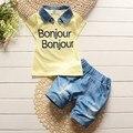 BibiCola Boys Summer Casual Clothes Set Children removable denim lapel T-shirt + jeans Short Pants Suits Clothing Sets for Kids